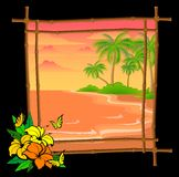 Palm tree  in bamboo frame Royalty Free Stock Image