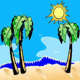 Palm tree and beach. An illustration of palm trees and the sun over the beach Stock Image