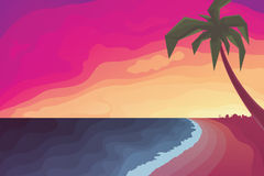 Palm Tree on Beach Against a Sunset Ocean. Vector Illustration Royalty Free Stock Photo