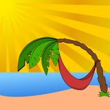Palm tree on a beach stock illustration