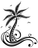 Palm tree, beach, sea. Sun with palm trees, beach and sea, vacation time Stock Image