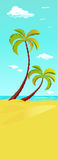 Palm tree on beach - vertical banner Royalty Free Stock Image
