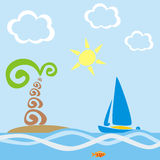 Palm tree & boat. Vector illustration of stylized sailing boat and palm tree on island Royalty Free Stock Images