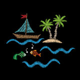 Palm tree and boat on wave with fish embroidery stitches imitati. On isolated on the black background. Embroidery for logo, label, emblem, sign, poster, t-shirt Royalty Free Stock Photo