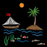 Palm tree and boat on wave with fish embroidery stitches imitati. On isolated on the black background. Embroidery for logo, label, emblem, sign, poster, t-shirt Stock Photos