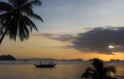 Palm tree and boats silhouettes on bright sunset sky background. Scenic sunset on tropical beach with mountains on background. Philippines island. Colorful stock image