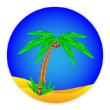 Palm tree button Royalty Free Stock Image