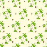 Palm tree with coconut pattern over yellow sand Royalty Free Stock Images