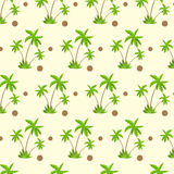 Palm tree with coconut pattern over yellow sand Stock Photos