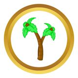 Palm tree with coconuts vector icon. In golden circle, cartoon style isolated on white background Royalty Free Stock Image