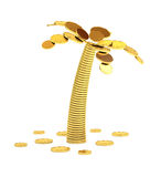 Palm tree from coins. Stock Images