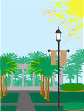 Palm Tree courtyard lamp post sunny Stock Photo