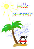 Palm tree and a cute penguin wearing sunglasses on a sandy island in the sea, postcard, vertical.  Stock Photography