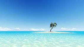 Palm tree on empty island 3D render. Palm tree on empty sand island 3D render Royalty Free Stock Photo