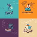 Palm tree flat icon, Location map with world map flat icon, Certificate flat icon and Ship flat icon Stock Images