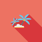 Palm tree flat icon with long shadow. Cartoon vector illustration stock illustration