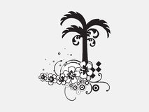Palm tree with floral elements on white background Stock Image