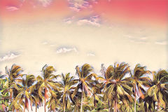 Palm tree forest on pink sky. Coco palms skyline. Tropical island vacation colorful digital illustration. Stock Photos