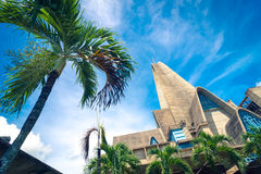 Palm tree in front of basilica La Altagracia Church in Higuey, Dominican Republic Stock Image