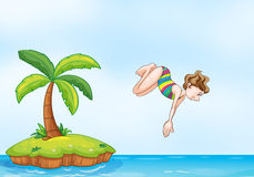 Palm tree girl diving on island Royalty Free Stock Photos