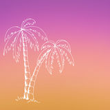Palm tree graphic art pink yellow violet color illustration Stock Photos