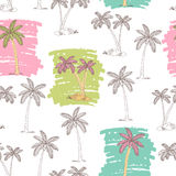 Palm tree graphic green pink color seamless pattern sketch illustration Stock Images