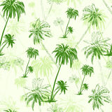 Palm tree green seamless pattern over vector Royalty Free Stock Photos