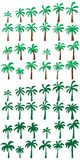 Palm tree green set Stock Photos