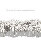 Palm tree horizontal pattern colorless vector Royalty Free Stock Images
