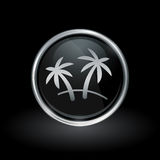 Palm Tree icon inside round silver and black emblem Royalty Free Stock Images
