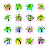 Palm tree icons set, pop-art style Stock Images
