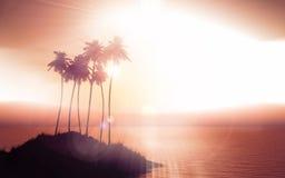 Palm tree island against a sunset sky Royalty Free Stock Photos