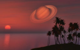 Palm tree island against a sunset sky with the planet Saturn. 3D render of a palm tree island against a sunset sky with the planet Saturn royalty free illustration