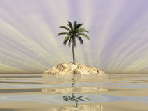 Palm tree on an island in middle of the ocean - 3D render Royalty Free Stock Photo