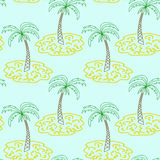 Palm Tree Island Pattern Hand Draw Sketch Royalty Free Stock Image