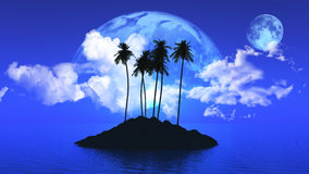 Palm tree island with planets in the sky. 3D render of a palm tree island with planets and clouds Stock Image