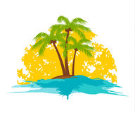 Palm tree. Island with a palm tree in the sun Stock Photos