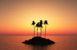 Palm tree island at sunset Royalty Free Stock Photography
