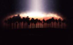 Palm tree island at sunset Stock Image