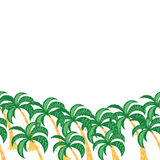 Palm tree leaves background template. Tropical greeting card. Horizontal summer border. Stock Photography