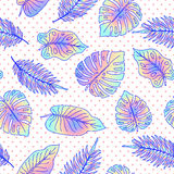 Palm tree leaves seamless pattern with dots. Modern abstract background Royalty Free Stock Photography