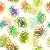 Palm tree leaves. Vector seamless pattern. Royalty Free Stock Photography