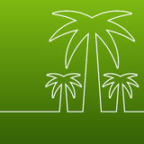 Palm tree line silhouette. Vector green abstract background with royalty free illustration