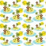 Palm Tree Monkey Tropical Island Seamless Pattern Stock Photography