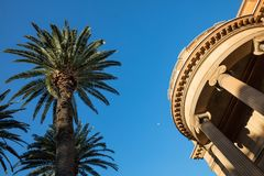 Palm tree, moon and building in Sydney, New South Wales, Austral Royalty Free Stock Images