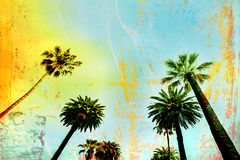 Palm Tree Paradise art background - multi layered background. Yellow blue Royalty Free Stock Photo