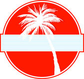 Palm tree on red Stock Photo