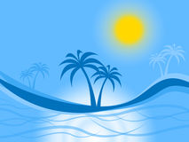 Palm Tree Represents Tropical Island And Atoll Royalty Free Stock Photo