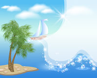 Palm tree and sailboat Stock Photos