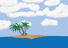 Palm tree on sand island. Vector - three  palm tree on sand island with clouds Stock Photo